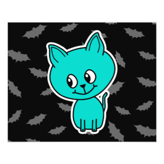 Cute Teal Cat with Bats. Flyer