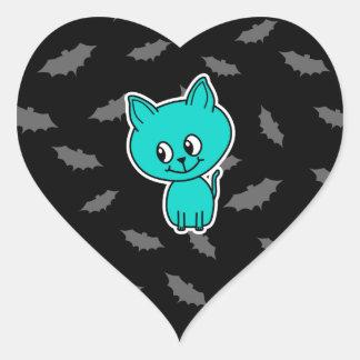 Cute Teal Cat with Bats. Heart Sticker