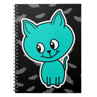 Cute Teal Cat with Bats Note Book