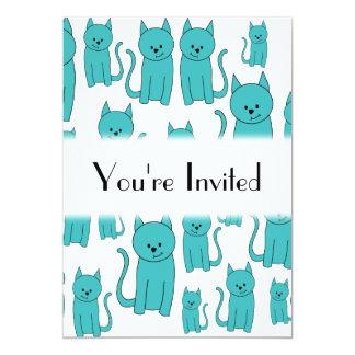 Cute Teal Cats. Card