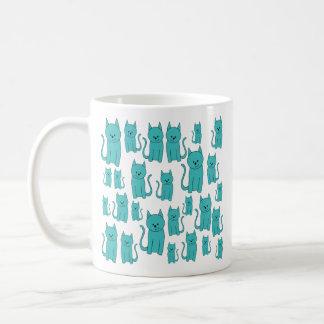 Cute Teal Cats. Coffee Mug