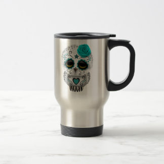 Cute Teal Day of the Dead Sugar Skull Owl 15 Oz Stainless Steel Travel Mug