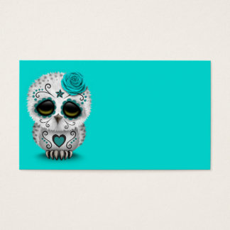 Cute Teal Day of the Dead Sugar Skull Owl Blue Business Card