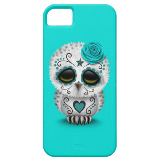 Cute Teal Day of the Dead Sugar Skull Owl Blue iPhone 5 Case