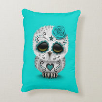 Cute Teal Day of the Dead Sugar Skull Owl Blue Decorative Pillow