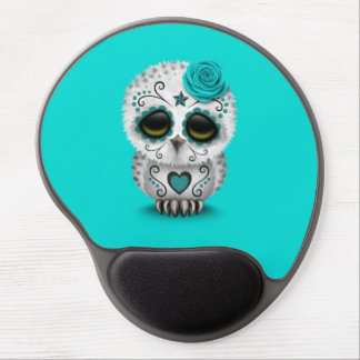 Cute Teal Day of the Dead Sugar Skull Owl Blue Gel Mouse Pad