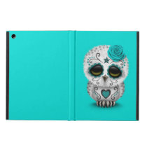Cute Teal Day of the Dead Sugar Skull Owl Blue iPad Air Cover