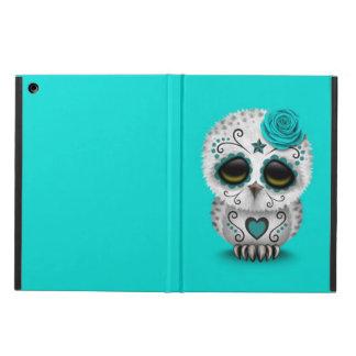Cute Teal Day of the Dead Sugar Skull Owl Blue iPad Air Cover