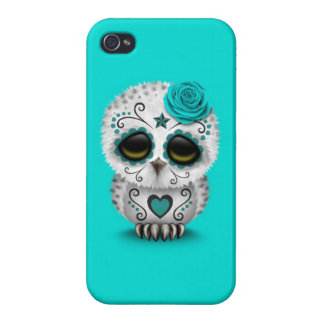 Cute Teal Day of the Dead Sugar Skull Owl Blue Cases For iPhone 4