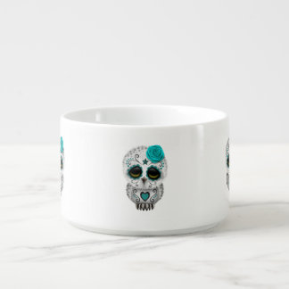 Cute Teal Day of the Dead Sugar Skull Owl Bowl