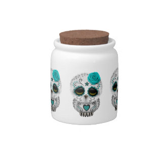 Cute Teal Day of the Dead Sugar Skull Owl Candy Jar