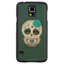 Cute Teal Day of the Dead Sugar Skull Owl Carved Maple Galaxy S5 Slim Case