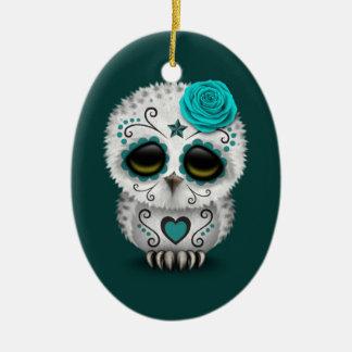 Cute Teal Day of the Dead Sugar Skull Owl Ceramic Ornament