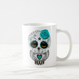 Cute Teal Day of the Dead Sugar Skull Owl Classic White Coffee Mug