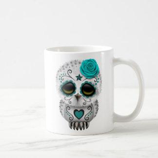 Cute Teal Day of the Dead Sugar Skull Owl Coffee Mug
