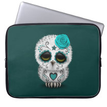Cute Teal Day of the Dead Sugar Skull Owl Computer Sleeve