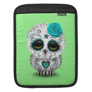 Cute Teal Day of the Dead Sugar Skull Owl Green Sleeves For iPads