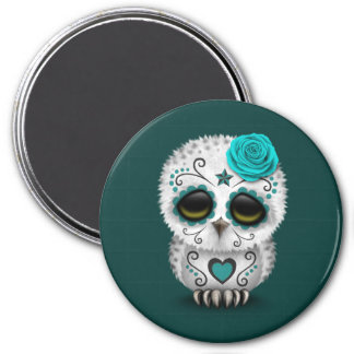 Cute Teal Day of the Dead Sugar Skull Owl Magnet