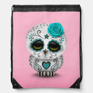 Cute Teal Day of the Dead Sugar Skull Owl Pink Cinch Bag