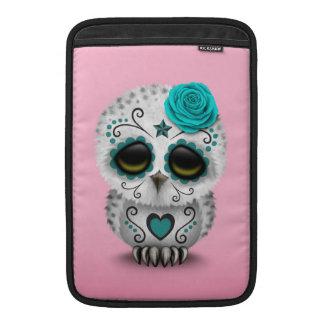 Cute Teal Day of the Dead Sugar Skull Owl Pink MacBook Air Sleeves