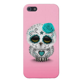 Cute Teal Day of the Dead Sugar Skull Owl Pink Cases For iPhone 5