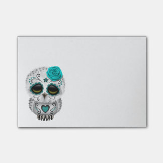 Cute Teal Day of the Dead Sugar Skull Owl Post-it Notes