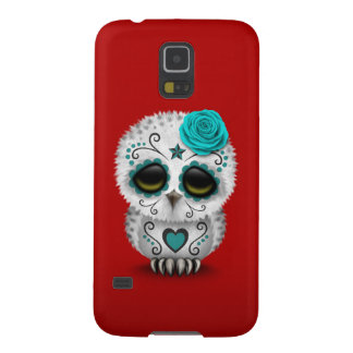 Cute Teal Day of the Dead Sugar Skull Owl Red Galaxy S5 Cover