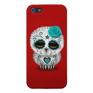 Cute Teal Day of the Dead Sugar Skull Owl Red iPhone 5 Cover