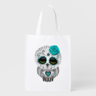 Cute Teal Day of the Dead Sugar Skull Owl Reusable Grocery Bag