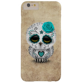 Cute Teal Day of the Dead Sugar Skull Owl Rough Barely There iPhone 6 Plus Case