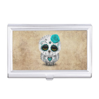 Cute Teal Day of the Dead Sugar Skull Owl Rough Case For Business Cards