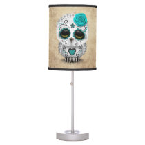Cute Teal Day of the Dead Sugar Skull Owl Rough Desk Lamp