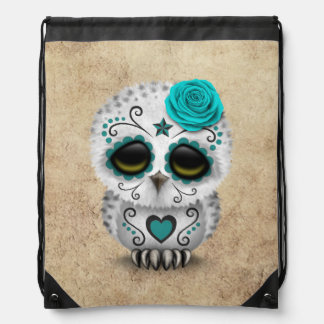 Cute Teal Day of the Dead Sugar Skull Owl Rough Drawstring Bag