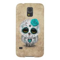 Cute Teal Day of the Dead Sugar Skull Owl Rough Galaxy S5 Case