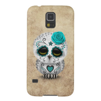 Cute Teal Day of the Dead Sugar Skull Owl Rough Galaxy S5 Case