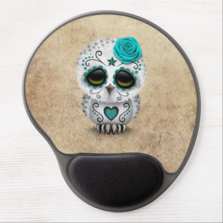 Cute Teal Day of the Dead Sugar Skull Owl Rough Gel Mouse Pad