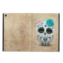 Cute Teal Day of the Dead Sugar Skull Owl Rough iPad Air Case