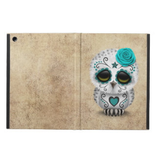 Cute Teal Day of the Dead Sugar Skull Owl Rough iPad Air Case