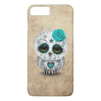 Cute Teal Day of the Dead Sugar Skull Owl Rough iPhone 8 Plus/7 Plus Case