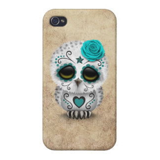 Cute Teal Day of the Dead Sugar Skull Owl Rough iPhone 4/4S Case
