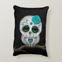 Cute Teal Day of the Dead Sugar Skull Owl Stars Accent Pillow