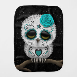 Cute Teal Day of the Dead Sugar Skull Owl Stars Baby Burp Cloth