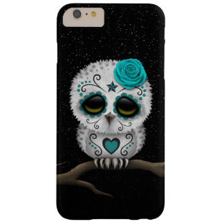 Cute Teal Day of the Dead Sugar Skull Owl Stars Barely There iPhone 6 Plus Case
