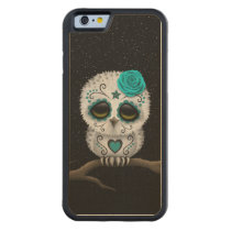 Cute Teal Day of the Dead Sugar Skull Owl Stars Carved Maple iPhone 6 Bumper Case