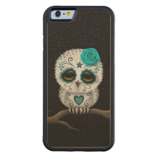 Cute Teal Day of the Dead Sugar Skull Owl Stars Carved® Maple iPhone 6 Bumper