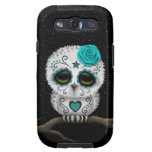 Cute Teal Day of the Dead Sugar Skull Owl Stars Samsung Galaxy SIII Cases