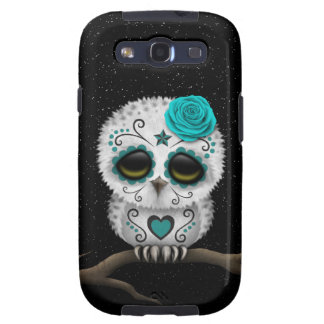 Cute Teal Day of the Dead Sugar Skull Owl Stars Samsung Galaxy SIII Cases