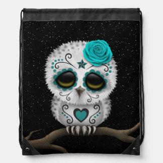 Cute Teal Day of the Dead Sugar Skull Owl Stars Drawstring Backpacks
