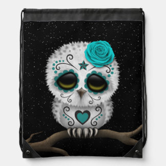 Cute Teal Day of the Dead Sugar Skull Owl Stars Drawstring Bag