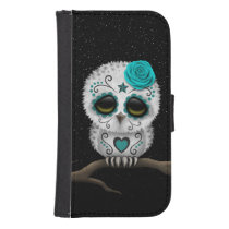 Cute Teal Day of the Dead Sugar Skull Owl Stars Galaxy S4 Wallet Case